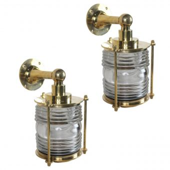 Pair of Brass Ship's Passageway Sconce Lights-NL0720-14
