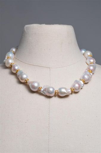 Baroque Pearl with Pearl 18K Gold Rondelles-jn20p2