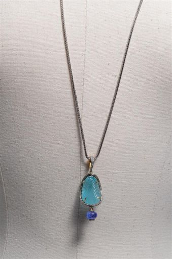 Carved Aquamarine and Tanzanite Pendant, Sterling Chain-jn20p5