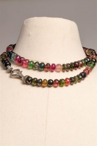 Faceted Tourmaline (Doubled) with Pave` Diamond Clasp-jn20p10