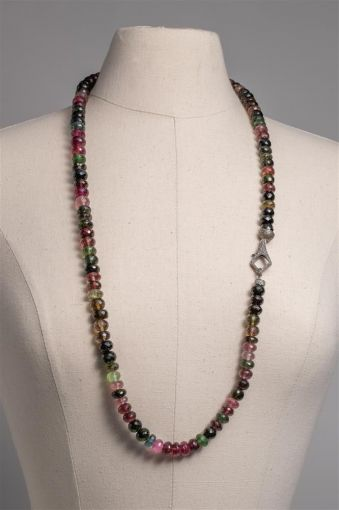 Faceted Tourmaline with Diamond Clasp-jn20p11