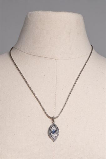 Sapphire and Diamond Evil Eye Pendant on Sterling Chain-jn20p14