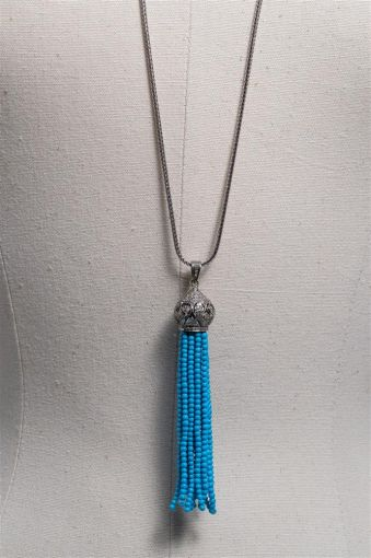 Turquoise and Diamond Tassel Pendant with Sterling-jn20p20