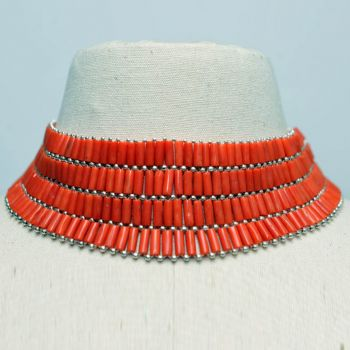 Coral and Silver Adj. Collar