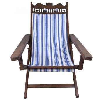 Early 1900's Teak Folding Canvas Chair with Slide-out Foot Rests