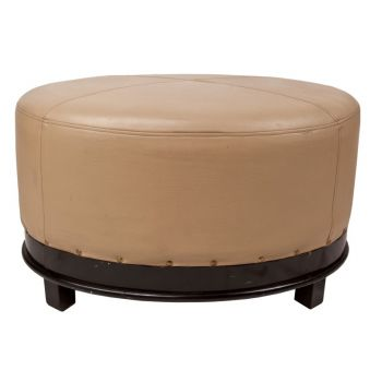 Pair of Deco Leather Ottomans - FS2017-5