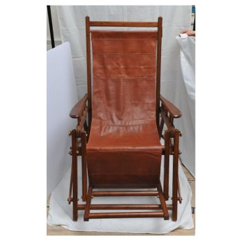 Reclining Leather Teak and Brass Chair - FS2017-8