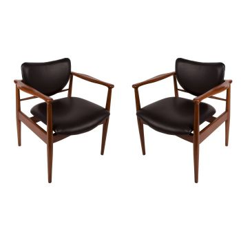 Set of 4 Mid-Century Modern Danish Chairs with Leather Seats - FS2017-9