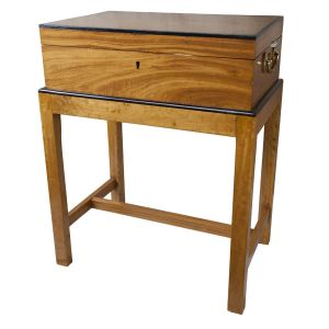 Satinwood and Ebony Officer's Chest on stand