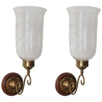 Pair of Hurricane Shade Sconces