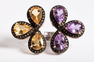 Citrine, Amethyst and Diamond 2-Sided Ring-JR2019-9