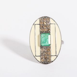 White Enamel, Diamond and Emerald Ring-JR2019-28