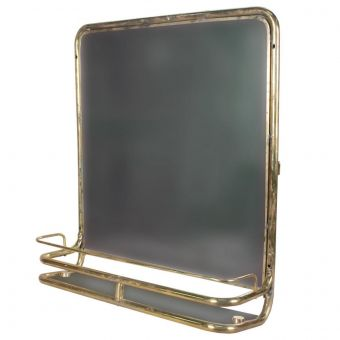 Brass Mirror with Shelf from Ship's Stateroom-NI0720-7