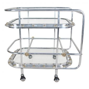Chrome Bar Cart Comprised of Ship's Windows-NI0720-16