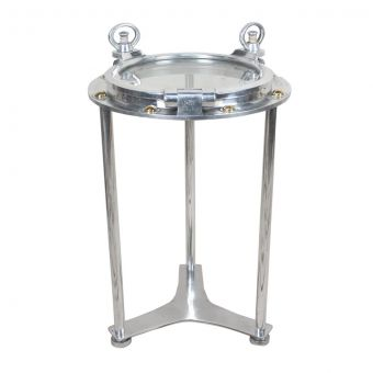 Chrome Porthole Converted to Side Table, Disassembles-NI0720-18