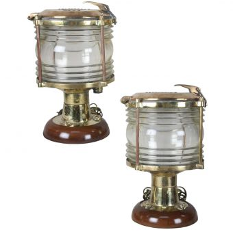 Fresnel Lens Post Lights on Teak Base, Electrified-NI0720-24