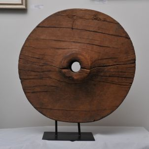 Teak Oxcart Wheel Sculpture - FA2017-20