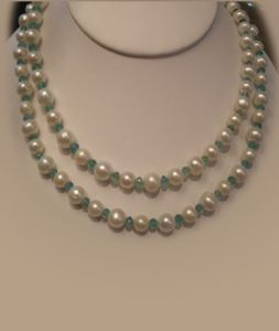Fresh water pearls with faceted emeralds, double or long  (JN00048)